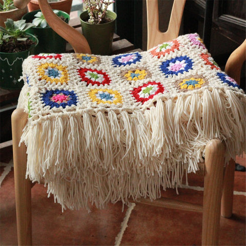Handmade Blanket Crocheted Afghan Knitted Couch Throw Vintage Granny Square Blanket - F. W. Woolworth Co. Online Store