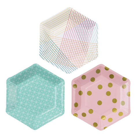 Talking Tables Party Time Stylish Hexagonal Plates, 12 count - F. W. Woolworth Co. Online Store