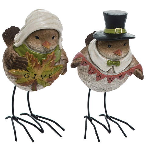Set of 2 Vintage Pilgrim Bird Figurines - Tabletop Thanksgiving Decor