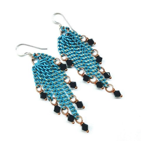 Turquoise Tassel Chain Black Crystal Earrings