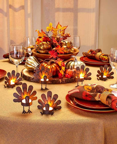 Set of 6 Turkey Tea Light Candleholders