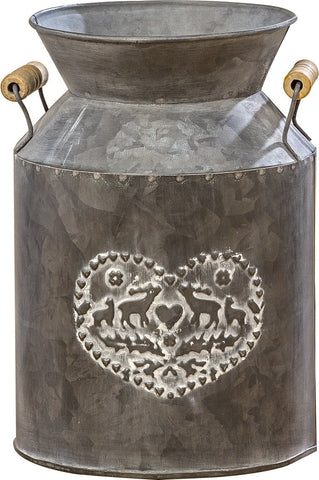Farmers Market Creamery Milk Can, Dark Rustic Galvanized Metal