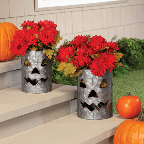Jack-O-Lantern Galvanized Metal Buckets, Halloween Decorations, Set of 2