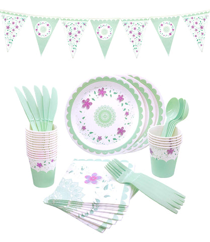 145 Piece Floral Party Supplies Set | Disposable Dinnerware Set | Services 24 - F. W. Woolworth Co. Online Store