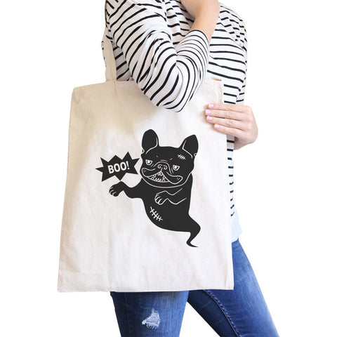 Boo French Bulldog Ghost Natural Canvas Bags