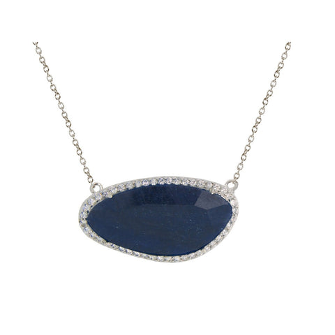 Platinum Plated Sterling Silver Natural Blue Corundum Stone Slice Necklace - F. W. Woolworth Co. Online Store