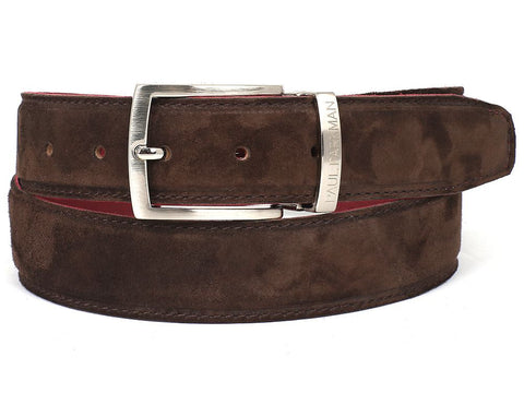 PAUL PARKMAN Men's Brown Suede Belt (ID#B06-BRW) - F. W. Woolworth Co. Online Store