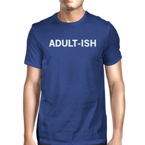 Adult-ish Unisex Royal Blue Tops Cute Typographic Daily T-shirt