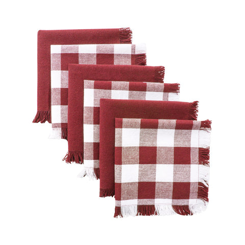 100% Cotton 13x13 Dish Cloths Check Plaid, Set of 6-Wine - F. W. Woolworth Co. Online Store
