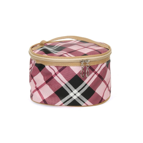 Pink Plaid Cosmetics Case