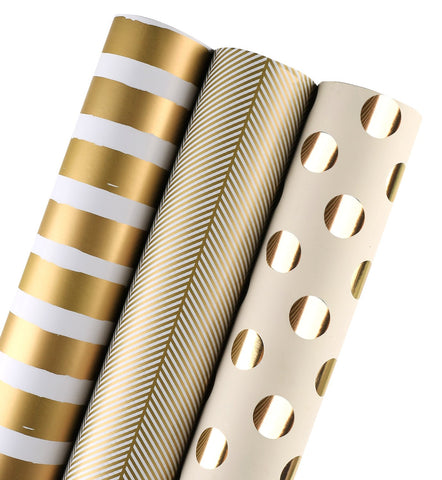 Gift Wrapping Paper Roll - Gold Print, set of 3