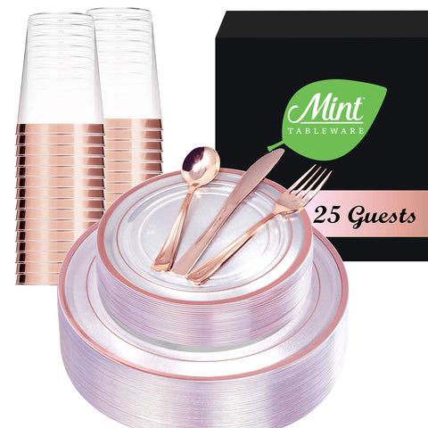 Rose Gold Trimmed Clear Plastic Party Set for 25