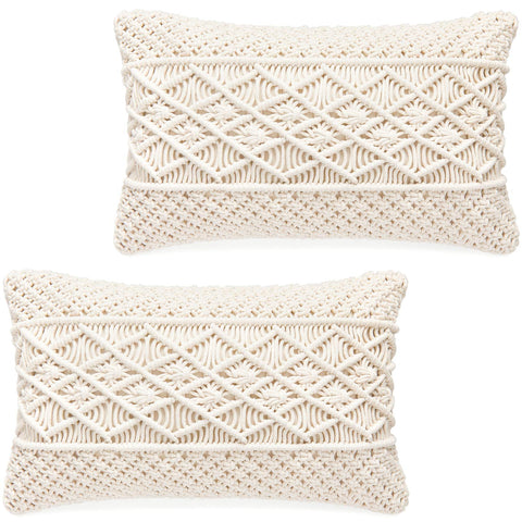 Macrame Cushion Case (Pillow Inserts Not Included) Set of 2 - F. W. Woolworth Co. Online Store