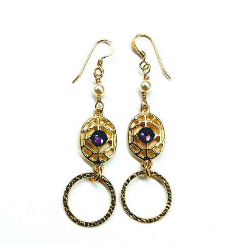 14 KT Gold Filled Hammered Circle Purple Crystal Filigree Pearl Earrings