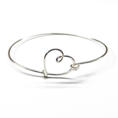 Wire Wrapped Heart Bangle in Sterling Silver - F. W. Woolworth Co. Online Store