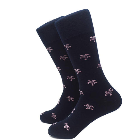 Turtle Socks - Men's Mid Calf - Pink on Navy - F. W. Woolworth Co. Online Store