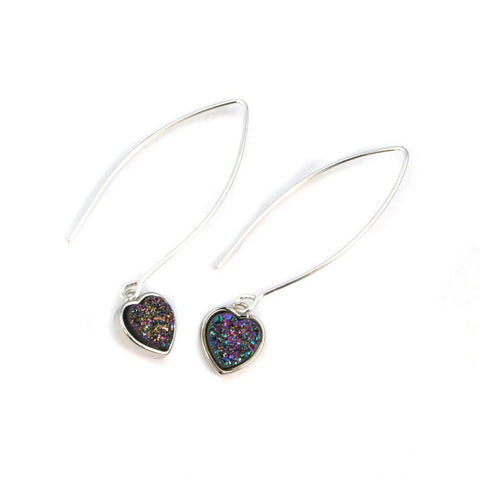 Silver Long Heart Earrings
