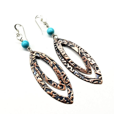 Long Pointed Oval Copper And Turquoise Earrings - F. W. Woolworth Co. Online Store