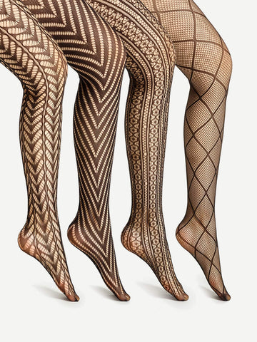 Laser Cut & Geometric Pattern Tights | Set of 4