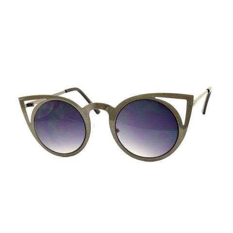 Grey Cateye Metal Sunglasses