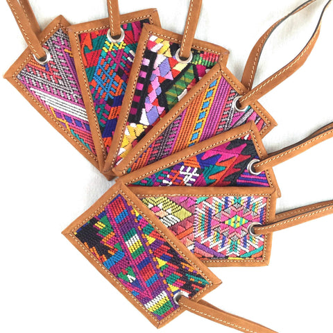Leather Luggage Tag Handmade Fair Trade Handmade in Guatemala