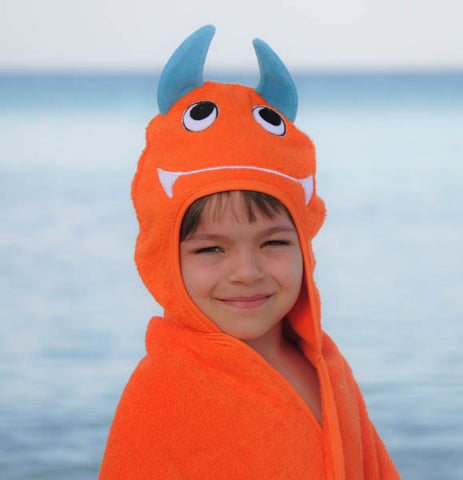 Monster Hooded Cotton Turkish Towel: Little Kid