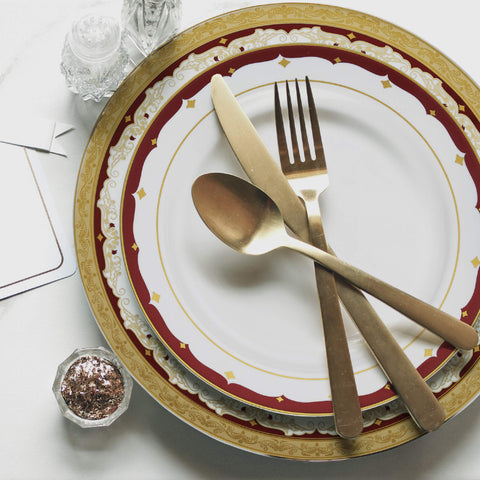 Designer Dinnerware Set | 32 Disposable Plastic Party Plates Burgundy + Gold