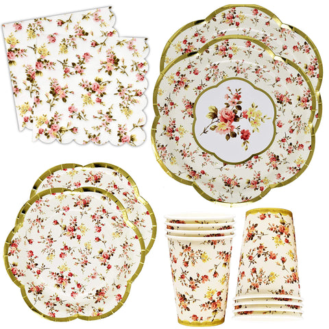 Gold Foil Vintage Floral Party Supplies Set