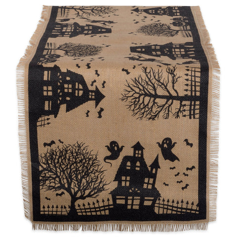 Jute/Burlap Table Runner, Haunted House - F. W. Woolworth Co. Online Store