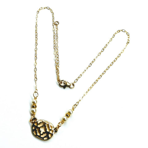 As Seen on Molly Ringwald Gold Filled Filigree Pearl Choker