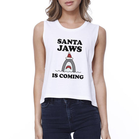 Santa Jaws Is Coming Women's White Crop Top - F. W. Woolworth Co. Online Store