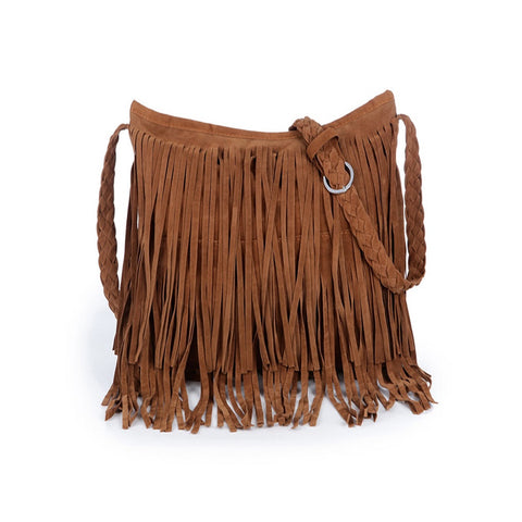 Suede Tassel Bag With Weave Strap - F. W. Woolworth Co. Online Store