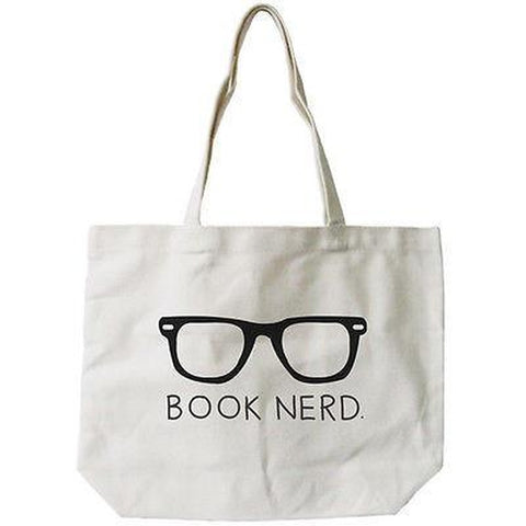Women's Book Nerd Natural Canvas Tote Bag - 100% Cotton 18.5x14.25 inches - F. W. Woolworth Co. Online Store