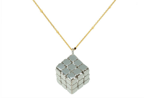 Silver Rubik's Cube Necklace - F. W. Woolworth Co. Online Store