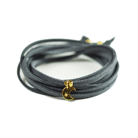 Crescent Moon Grey Suede Choker - F. W. Woolworth Co. Online Store