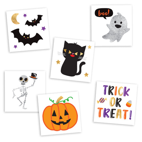 CUTE N SPOOKY VARIETY SET - Metallic Temporary Flash Tattoos