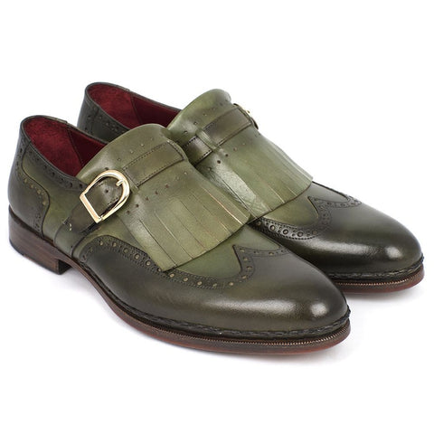 Paul Parkman Men's Wingtip Monkstrap Brogues Green  Leather Upper With Double Leather Sole (ID#060-GREEN) - F. W. Woolworth Co. Online Store