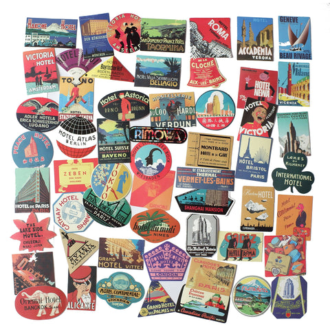 Classic Vintage Style Vinyl Waterproof Stickers | Set of 56 Assorted Travel - F. W. Woolworth Co. Online Store