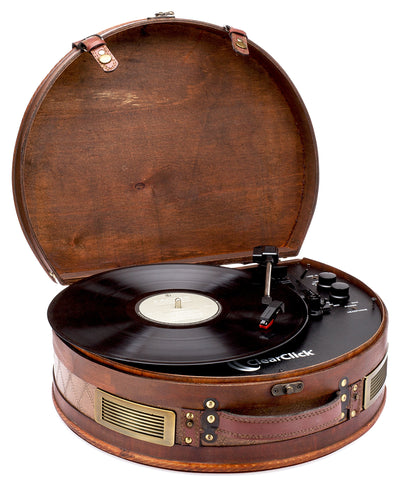 Vintage Suitcase Turntable with Bluetooth & USB - Classic Wooden Retro Style - F. W. Woolworth Co. Online Store