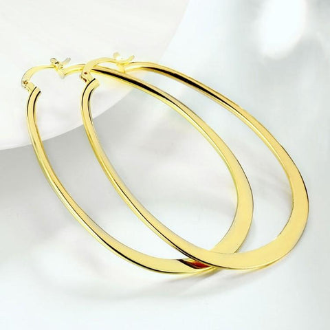 18K Gold Plated Large Flat Hoop Earrings