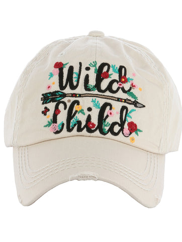 Wild Child Embroidered Distressed Cap