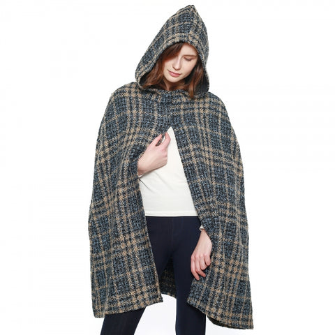 Woven Plaid Hooded Cape