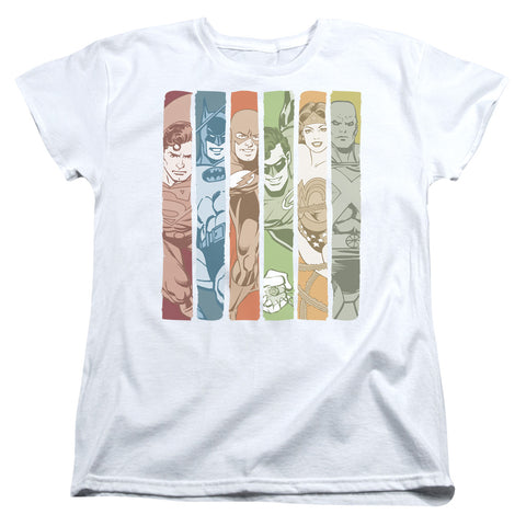 Dc - Justice League Columns Short Sleeve Women's Tee - F. W. Woolworth Co. Online Store