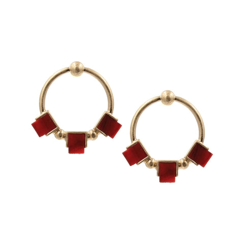 Red and Gold Circle Stud Earrings