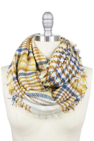 Yellow Plaid Infinity Scarf