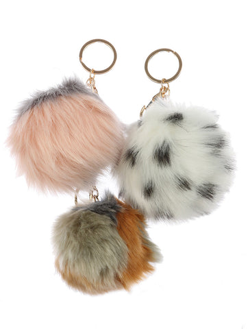 Faux Fur Pom Pom Keychain | Set of 3 - F. W. Woolworth Co. Online Store