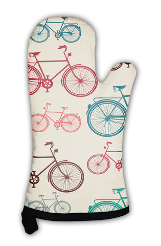 Oven Mitt, Vintage Bike Elements Pattern