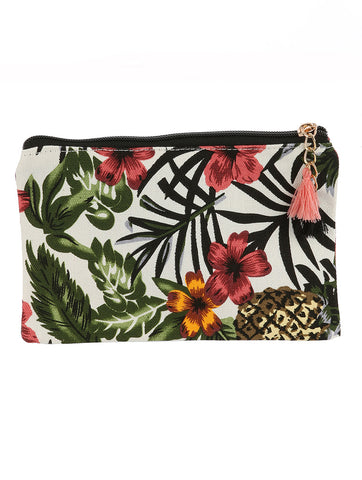 Tropical Print Makeup Pouch