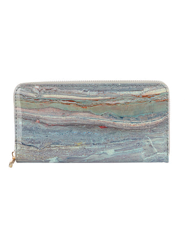 Marble Print Clutch Zip Wallet
