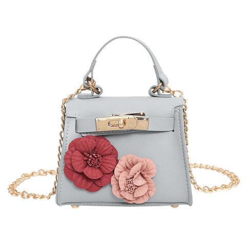 Mini Crossbody Chain Handbag with Floral Applique